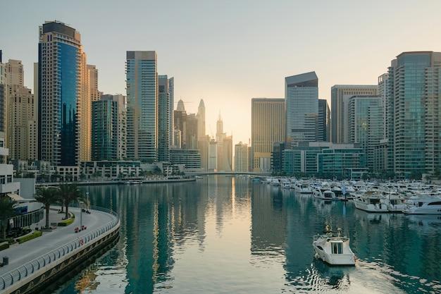 Dubai. the waterfront of dubai marina in the early morning.