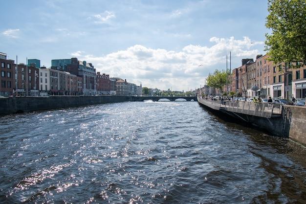 Dublin city center, ireland river liffey in town center.