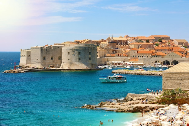 Dubrovnik old town and banje beach, adriatic sea, croatia