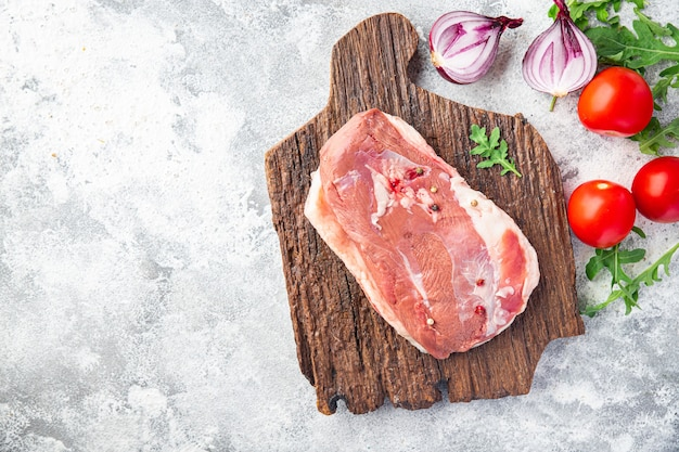 Duck breast poultry raw meat fresh portion ready to cook meal snack on the table copy space food