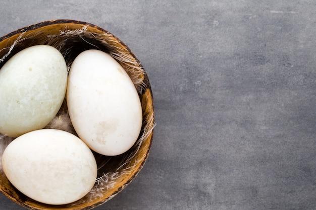 ケージの灰色の背景にアヒルの卵。