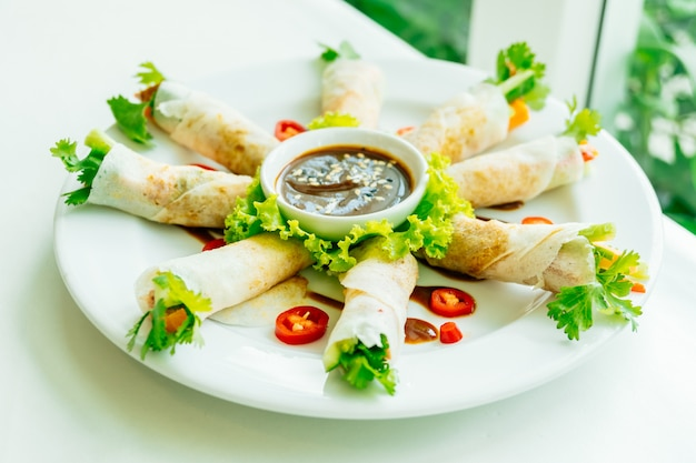 Duck meat inside spring roll
