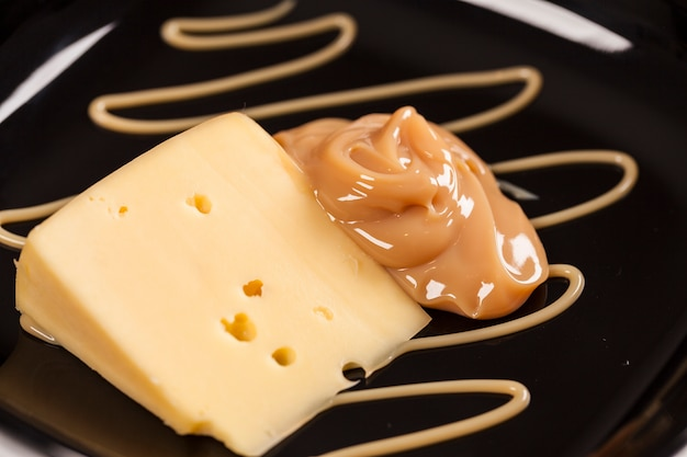 Dulce de leche with cheese,(doce de leite) a sweet dessert made ​​from milk, made in brazil and argentina.
