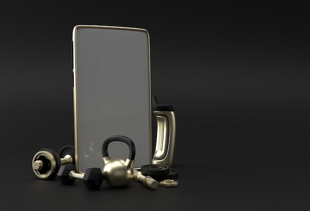 Шаблон пустой экран смартфона гантели и штанги. абстрактный модный модный макет. 3d-рендеринг мобильного приложения пустой телефон.