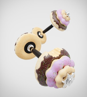 Dumbbell or barbell in the shape of donut on white wall. 3d illustration.