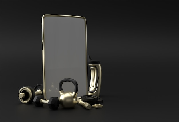 Dumbbell and barbell smartphone blank screen template. abstract trendy fashionable mockup. 3d rendering of blank phone mobile app.