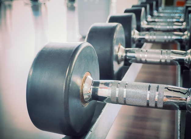 Dumbbell in at the gym room