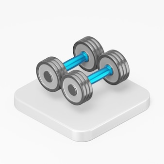 Dumbbell icon in 3d rendering interface ui ux element