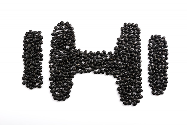 Dumbbell made out of cereals isolated on white background