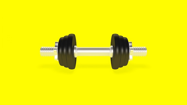 Dumbbell on a yellow background
