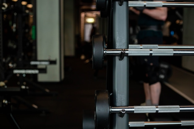 Dumbbells in the fitness club gym concept