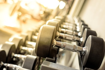 Dumbbells in gym.