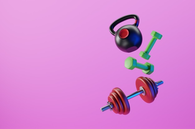 Dumbbells and kettlebells floating abstractly in the air. 3d illustration