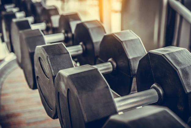 Dumbbells on rack in fitness center.