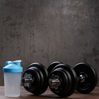 Dumbbells and shaker