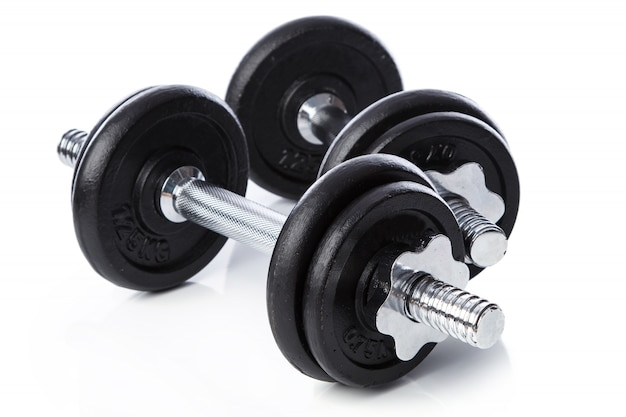 Dumbbells on white background