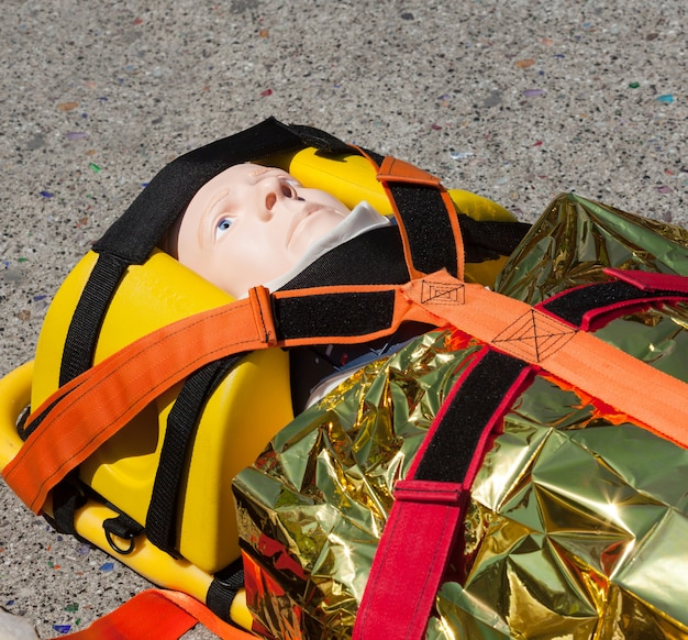 Dummy immobilized on a stretcher