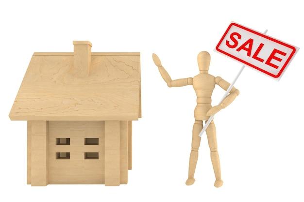판매 배너와 흰색 배경에 목조 주택 더미