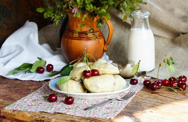 Dumpling with cherry