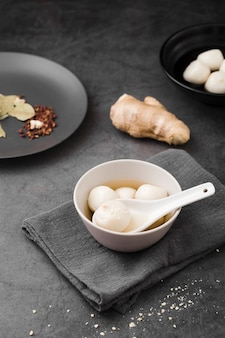 Dumplings and ginger with spices