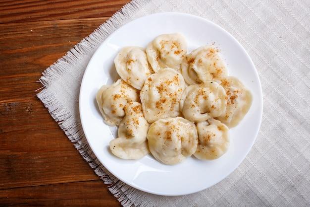 Dumplings on a linen tablecloth