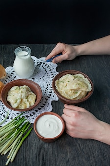 Dumplings with potatoes and cabbage.