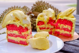 Durian cake and fresh yellow durian.