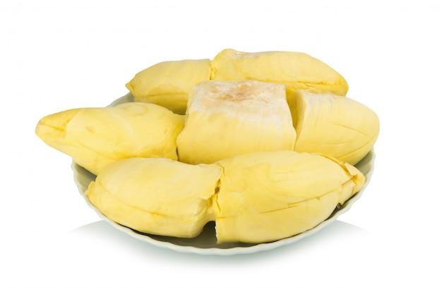 Durian. king fruit. peeled. on dish. isolated on white background