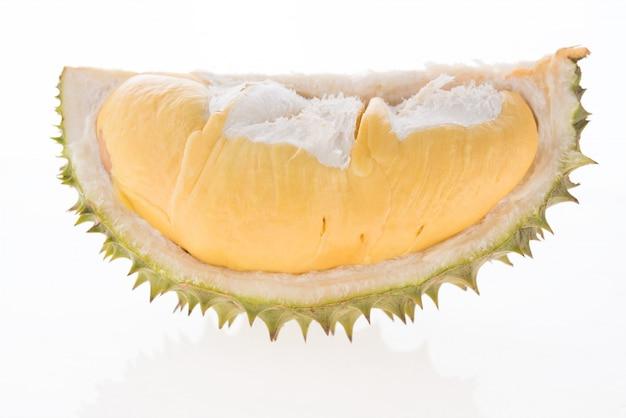 ドリアン、白で隔離されるタイの果物の王様