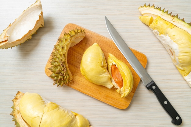 Durian riped and fresh ,durian peel on wooden board