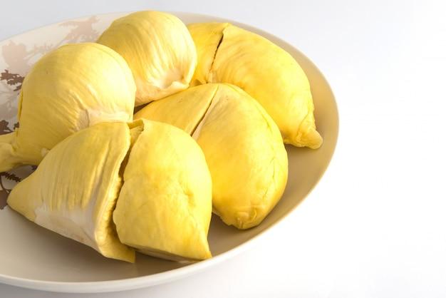Durian (thai monthong durian) in white plate