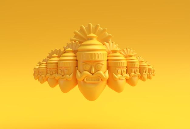 Праздник душера - равана с десятью головами 3d-рендеринга.