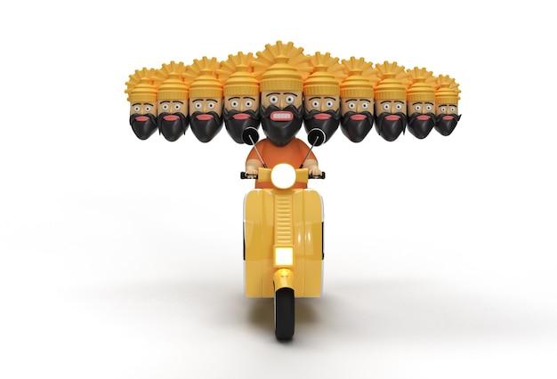 Dussehra 축하 - 모터 스쿠터를 타는 10개의 머리를 가진 ravana - 합성하기 쉬운 jpeg에 포함된 펜 도구 생성 클리핑 경로.