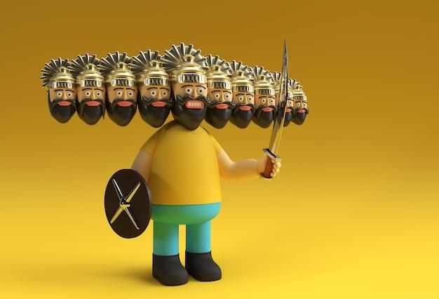 Праздник душера - равана с десятью головами с мечом и щитом 3d-рендеринг.