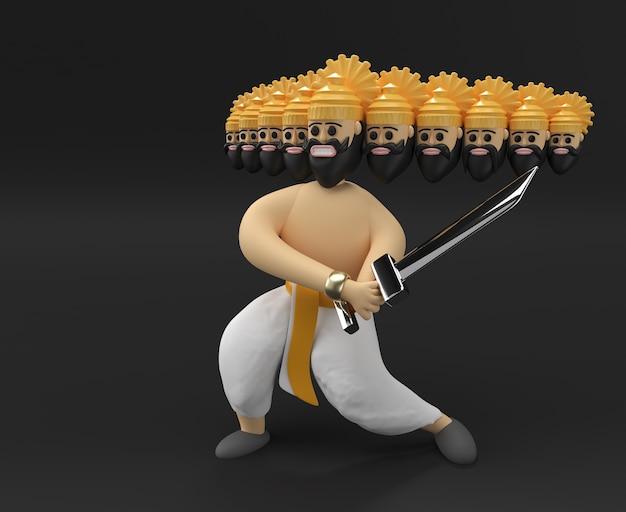 Праздник душеры - равана с десятью головами с мечом и щитом 3d-рендеринг.