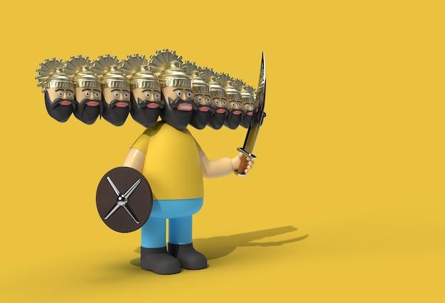Праздник душеры - равана с десятью головами, мечом и пером-щитом. созданный обтравочный контур включен в jpeg. легко составить.