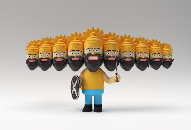 Dussehra celebration - ravana with ten heads with sword and shield 3d rendering illustration.