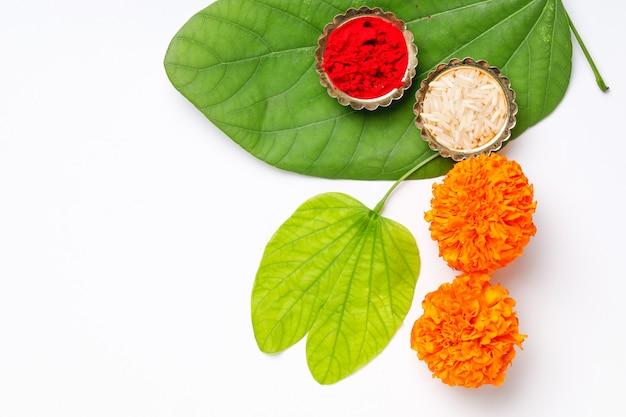 インド祭りdussehra、葉と米