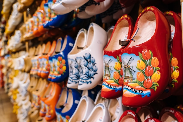 Dutch traditional handmade wooden shoes clogs with colorful paintings