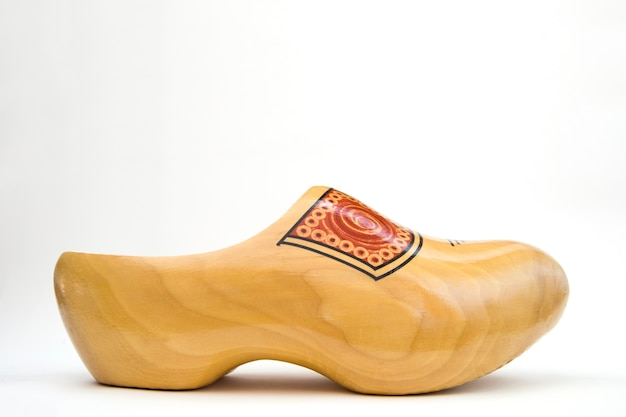 Dutch wooden clog isolated on the white background