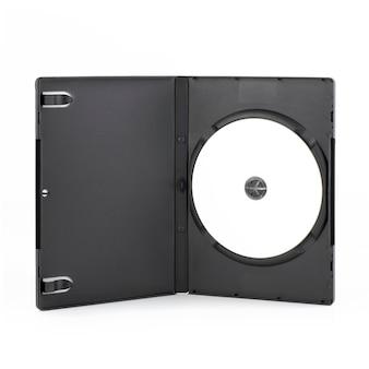 白で隔離されたdvdディスクで開くdvdケース