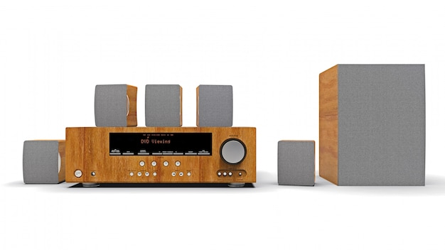 Dvd receiver and home theater system with speakers and subwoofer made of aluminum and wood. 3d illustration.