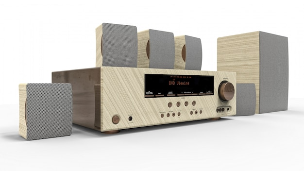 Dvd receiver and home theater system with speakers and subwoofer made of painted metal and light wood. 3d illustration.