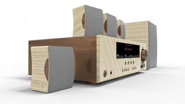 Dvd receiver and home theater system with speakers and subwoofer made of painted metal and light wood