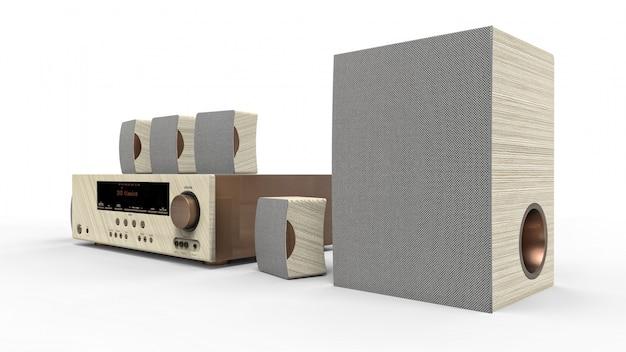 Dvd-ресивер и система домашнего кинотеатра с динамиками и сабвуфером из окрашенного металла и светлого дерева