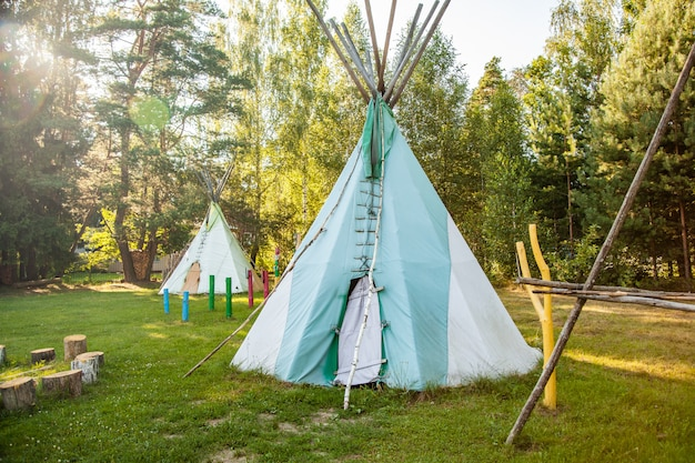 Dwelling tipi, the wigwam in the forest