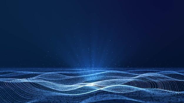 체적 스포트 라이트가있는 파란색 사이버 공간에서 흐르는 동적 원형 그리드 입자 파, 로고 또는 텍스트 디자인을 추가하기위한 복사 공간이있는 추상 아름다운 미래 데이터 기술 모션 배경