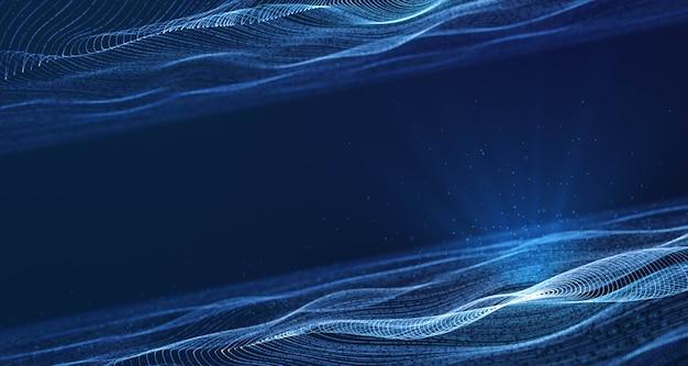 Динамическая круглая волна частиц сетки, текущая в синем киберпространстве с объемным прожектором, абстрактный красивый футуристический фон движения технологий данных с копией пространства для добавления логотипа или текстового дизайна Premium Фотографии