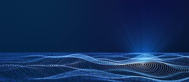 Динамическая круглая волна частиц сетки, текущая в синем киберпространстве с объемным прожектором, абстрактный красивый футуристический фон движения технологий данных с копией пространства для добавления логотипа или текстового дизайна