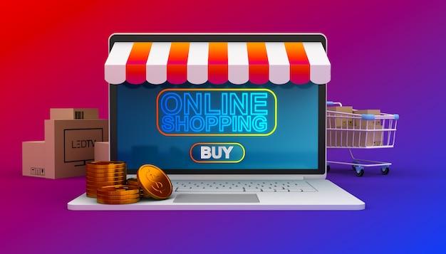 ラップトップ、イージーeコマース、3 dレンダリング図のオンラインショッピングのウェブサイト。